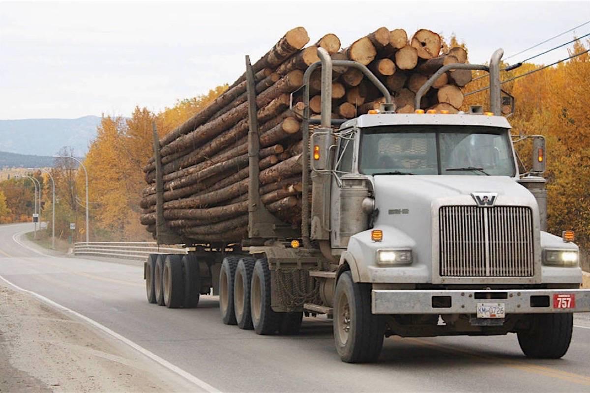 Log truck on Highway 16. (Black Press media)