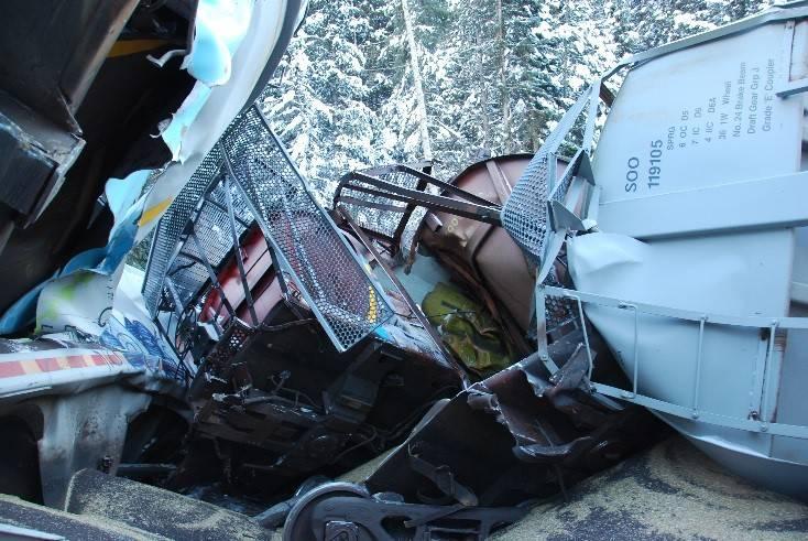 CP Rail train derailment near Field, B.C., on February 4. TSB Photo