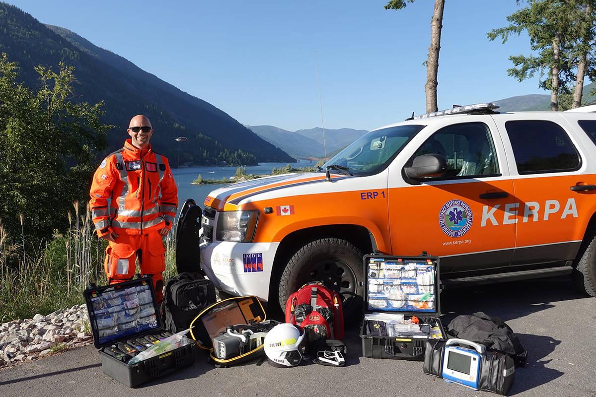 Dr. Nicholas Sparrow with the Kootenay Emergency Response Physicians Association (KERPA) vehicle. Photo: KERPA